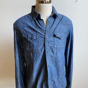 All saints denim snap button shirt long sleeve L